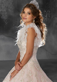 VIZCAYA BY MORI LEE 89202 QUINCEANERA DRESS - FEATHER BOLERO ONLY**