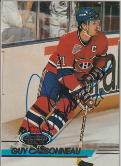 Guy Carbonneau Autograph 1993-94 Topps Stadium Club Hockey Card
