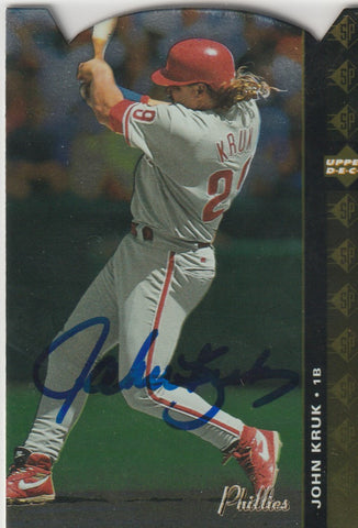 John Kruk Autograph 1994 SP Die-Cut Baseball Card