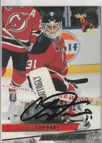 Chris Terreri Autograph 1993-94 Fleer Ultra Hockey Card