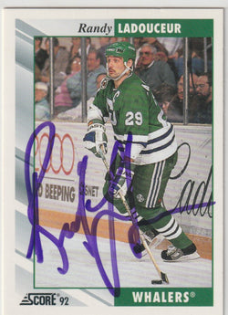 Randy Ladouceur Autograph 1992-93 Score Hockey Card