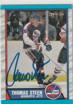 Thomas Steen Autograph 1989-90 O-Pee-Chee Hockey Card