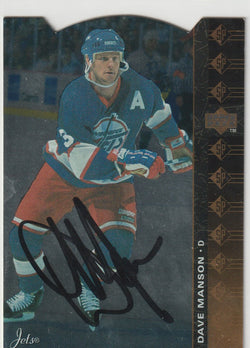 Dave Manson Autograph 1994-95 Upper Deck SP Die-Cut Hockey Card