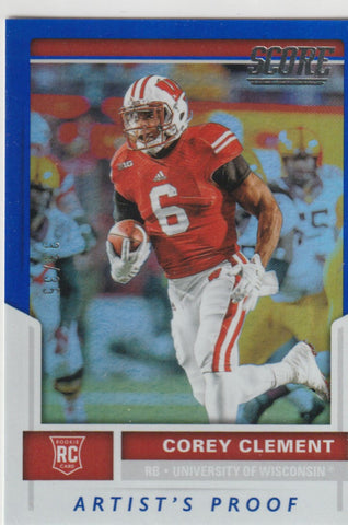 Corey Clement 2017 Score Artists Proof #355 Rookie Card /35
