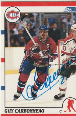 Guy Carbonneau Autograph 1990-91 Score Hockey Card