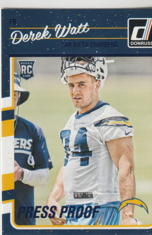 Derek Watt 2016 Donruss Press Proofs Blue #314 Rookie Card