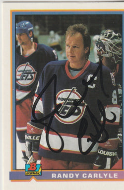 Randy Carlyle Autograph 1991-92 Bowman Hockey Card
