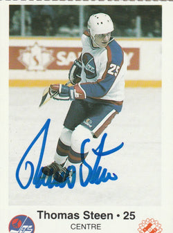 Thomas Steen Autograph Kinsmen Police Winnipeg Jets Team Issue Hockey Card