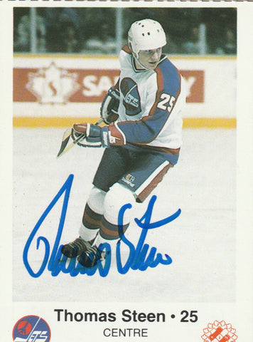 online store 00072 68dd9 Thomas Steen Autograph Kinsmen Police Winnipeg Jets Team Issue Hockey Card