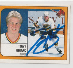 Tony Hrkac Autograph 1988-89 Panini Hockey Sticker