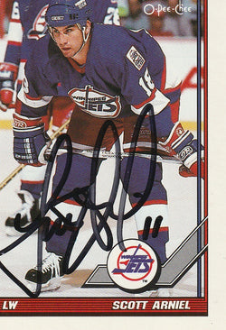 Scott Arniel Autograph 1991-92 O-Pee-Chee Hockey Card