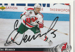 Eric Weinrich Autograph 1992-93 Upper Deck Hockey Card