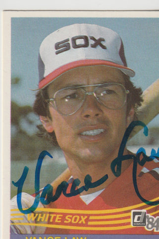 Vance Law Autograph 1984 Donruss Baseball Card