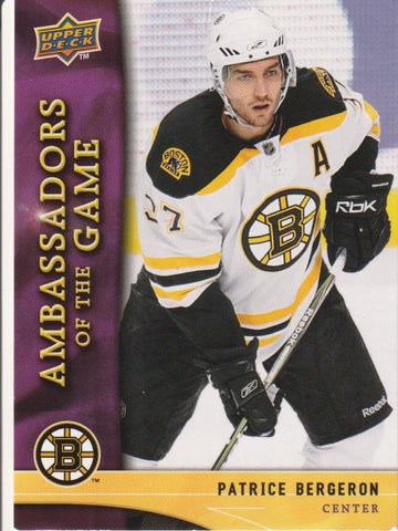 Patrice Bergeron 2009-10 Upper Deck - Ambassadors of the Game #AG8