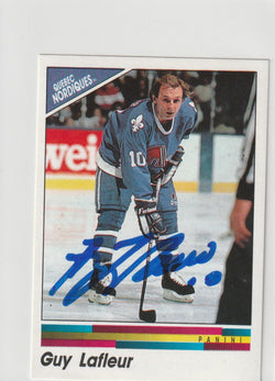 Guy Lafleur Autograph 1990-91 Panini Hockey Sticker