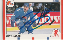 Tony Hrkac Autograph 1990-91 Score Hockey Card