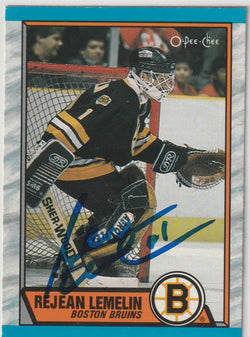 Rejean Lemelin Autograph 1989-90 O-Pee-Chee Hockey Card