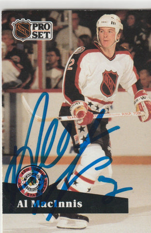 Al MacInnis Autograph 1991-92 Pro Set Hockey Card