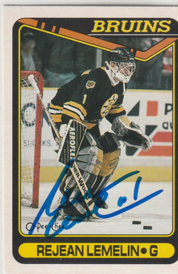 Rejean Lemelin Autograph 1990-91 O-Pee-Chee Hockey Card