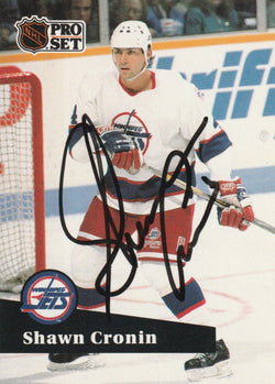 Shawn Cronin Autograph 1991-92 Pro Set Hockey Card