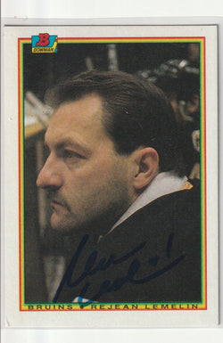 Rejean Lemelin Autograph 1990-91 Bowman Hockey Card