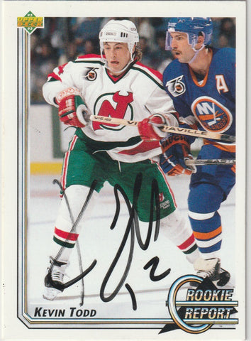 Kevin Todd Autograph 1992-93 Upper Deck Hockey Card