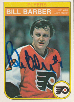 Bill Barber Autograph 1982-83 O-Pee-Chee Hockey Card