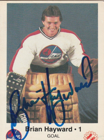 Brian Hayward Autograph Kinsmen Police Winnipeg Jets Team Issue Hockey Card
