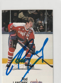 Rod Langway Autograph 1998-89 Esso NHL All-Star Hockey Card