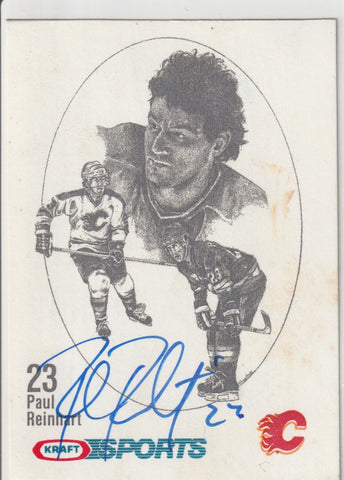 Paul Reinhart Autograph 1986-87 Kraft Drawings Hockey Card