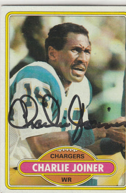 Charlie Joiner Autograph 1980 Topps Football Card