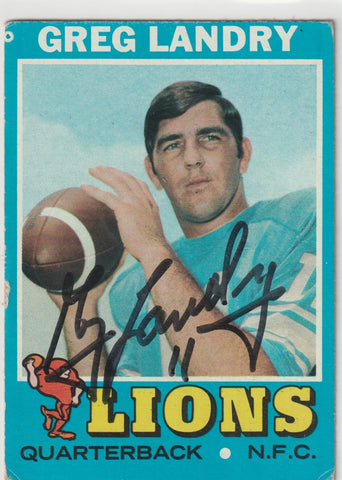 Greg Landry Autograph 1971 Topps Football Card