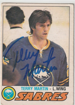 Terry Martin Autograph 1977-78 O-Pee-Chee Hockey Card
