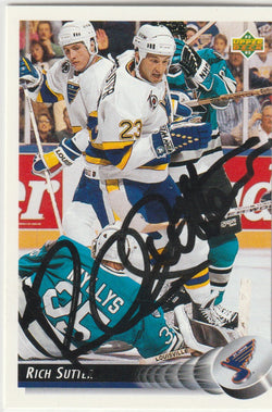 Rich Sutter Autograph 1992-93 Upper Deck Hockey Card