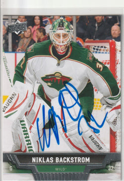 Niklas Backstrom Autograph 2013-14 Upper Deck Hockey Card