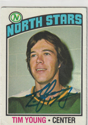 Tim Young Autograph 1976-77 Topps Hockey Card