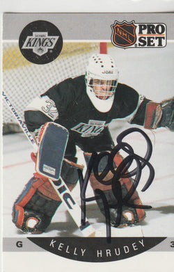 Kelly Hrudey Autograph 1990-91 Pro Set Hockey Card
