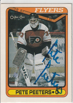 Pete Peeters Autograph 1990-91 O-Pee-Chee Hockey Card