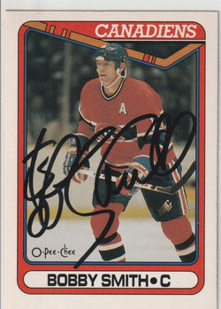 Bobby Smith Autograph 1990-91 O-Pee-Chee Hockey Card