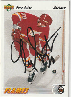 Gary Suter Autograph 1991-92 Upper Deck Hockey Card