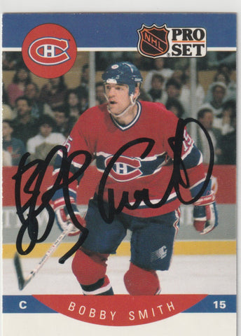 Bobby Smith Autograph 1990-91 Pro Set Hockey Card