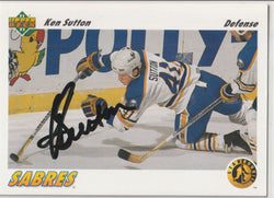 Ken Sutton Autograph 1991-92 Upper Deck Hockey Card