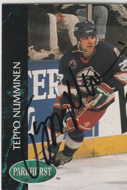 Teppo Numminen Autograph 1992-93 Parkhurst Hockey Card