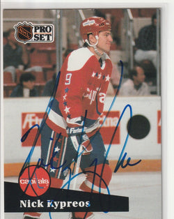 Nick Kypreos Autograph 1991-92 Pro Set Hockey Card