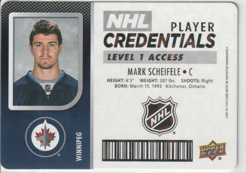Mark Scheifele 2017-18 Upper Deck MVP - NHL Player Credentials - Level 1 Access #NHL-MS