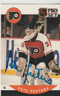 Pete Peeters Autograph 1990-91 Pro Set Hockey Card