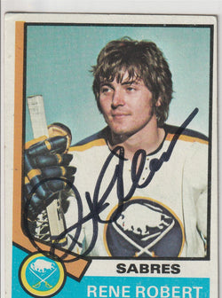 Rene Robert Autograph 1974-75 Topps Hockey Card