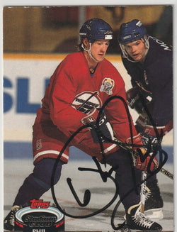 Phil Housley Autograph 1992-93 Topps Stadium Club Hockey Card