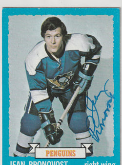 Jean Pronovost Autograph 1973-74 Topps Hockey Card
