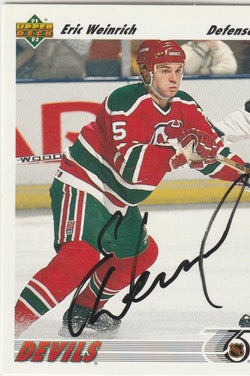 Eric Weinrich Autograph 1991-92 Upper Deck Hockey Card